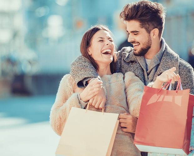 Happy Shopping Couple